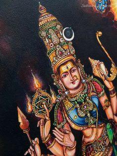 Shiva Yoga, Shiva Shakti, Goddess Art, Durga Goddess, Durga Maa, Shiva Art, Hindu Art, Indian Traditional Paintings, Hindu Deities