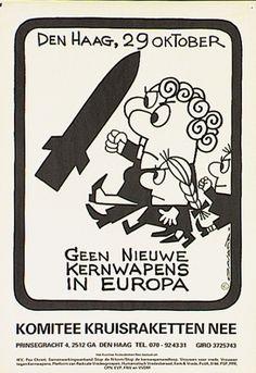 Onlosmakelijk verbonden met de jaren '80 is dit affiche van de vredesbeweging getekend door Opland. https://www.facebook.com/Regionaal.Historisch.Centrum.Eindhoven.RHCe?fref=ts