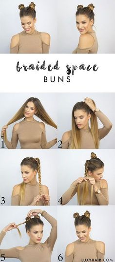 how to do space buns -- easy double buns, top knots hair tutorials