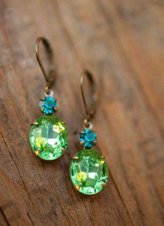 Peridot Earrings - Estate Style Vintage Glass Peridot And Aqua Swarovski Rhinestone Earrings. $22,00, via Etsy.