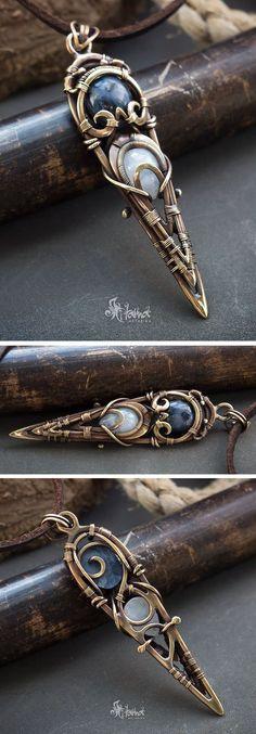 Heady wire wrapped pendant // Pietersite and moonstone pendant
