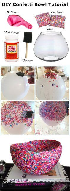DIY Confetti Bowl Tutorial - DIY Ideas 4 Home on We Heart It