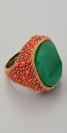 Coral and Jade Cocktail Ring from Shop Bop