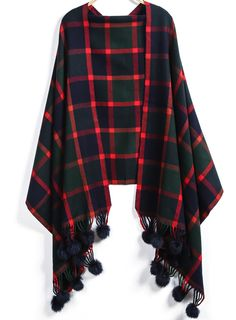 Green Plaid Twisted Ball Scarve $21.67