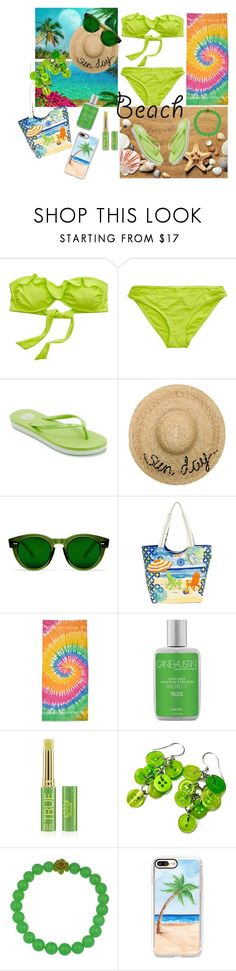 """Cool Lime Beach"" by siriusfunbysheila1954 ❤ liked on Polyvore featuring American Eagle Outfitters, SO, Eugenia Kim, Sun N' Sand, Colortone, Cane + Austin, Tata Harper and Casetify"