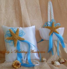 Beach Wedding Flower Girl Basket and Ring Bearer ♥ by All4Brides