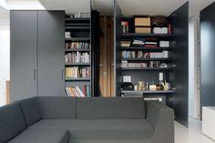 regalwand als raumteiler mit durchgang links beidseitig mit alurahmen klarglast ren a. Black Bedroom Furniture Sets. Home Design Ideas