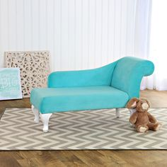 Homepop Kids Teal Velvet Chaise Lounge