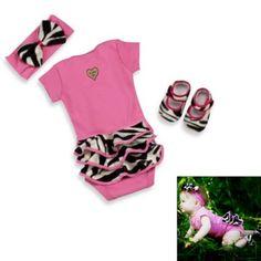 Baby Bella Maya™ 3-Piece Zoe Zebra Bodysuit Set - buybuyBaby.com