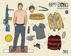 Doll Dave, Happy Endings Really excited to share some new paper dolls with you guys, this time working on a set with ABC for their show Happy Endings. I worked on these with one of the show's writers, Gil Ozeri, to come up with some of their. Dave Rose, Starting A Restaurant, Sketches Of People, Vintage Paper Dolls, Retro Toys, Art Model, Happy Endings, Breaking Bad, Ariel