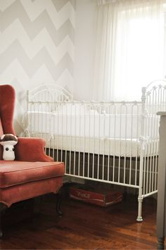chic chevron wall and cool vintage details