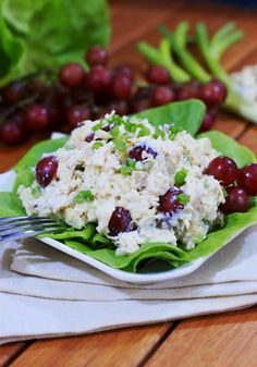 Pina Colada Chicken Salad ~ fabulous tropical flavor that is sweet, but not too sweet.  A perfect summery lunch.   www.thekitchenismyplayground.com  #chickensalad