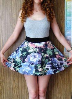 spódnica spódniczka krótka w kwiaty kwiatki