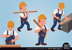 A vector character set depicting a carpenter in various activities. Creative Commons Attribution 3.0