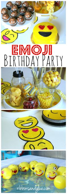 How to throw an Emoji Birthday Party complete with simple emoji party decorations, emoji candies, DIY emoji table runner and Poop emoji cupcakes