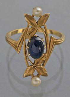 Gaston Lafitte Art Nouveau Ring image 4