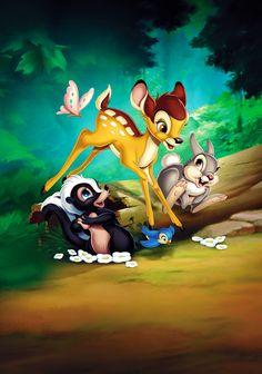 Bambi poster, t-shirt, mouse pad Disney Princess Fashion, Disney Princess Pictures, Disney Pictures, Cute Pictures, Arte Disney, Disney Magic, Disney Art, Classic Cartoon Characters, Classic Cartoons