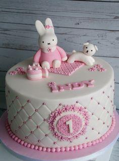 Miffy cake in pink and white / Nijntje taart Baby Girl Cakes, Baby Birthday Cakes, Happy Birthday 1 Year, Miffy Cake, 1st Year Cake, Cake Cookies, Cupcakes, Crazy Cakes, Unique Cakes