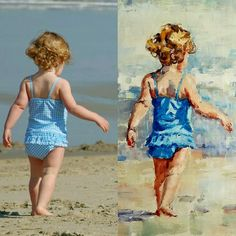Paintings of Children on the Beach ~ Commissioned portraits by impressionist artist Gina Brown Painting People, Figure Painting, Painting & Drawing, Painting Abstract, Abstract Landscape, Watercolor Portraits, Watercolor Paintings, Beach Paintings, Portrait Paintings