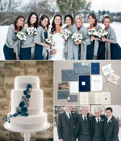 navy blue and grey wedding decor for winter themed wedding 2014-2015   #navybluewinterwedding