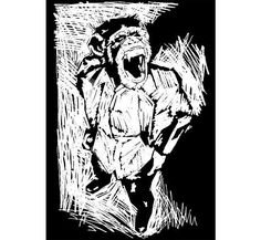 Drawing in the style of a lino/wood cut, Matthew Dunn