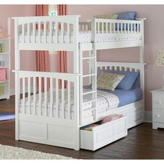 $989; Columbia Bunk Bed Twin over Twin with Raised Panel Bed Drawers in White