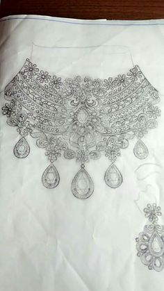 Jewelry Crafts, Jewelry Art, Necklace Drawing, Jewelry Design Drawing, Jewelry Illustration, Jewellery Sketches, Photo Jewelry, Necklace Designs, Fashion Sketches