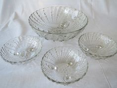 Anchor Hocking clear Depression Glass 1938-1940 Oyster and Pearl Pattern Footed