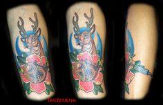 tattoo,traditional, reh, rose, tattoomaschine, bayrisch
