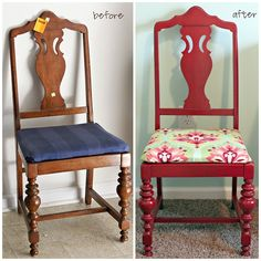 Pinner I pinned from said: refinish thrift store chairs, plus, BONUS did you know they sell liquid sandpaper? just wipe down the chairs and the paint will stick. Furniture Rehab, Furniture Diy, Furniture Makeover, Diy Chair, Recovering Chairs, Refurbished Furniture, Refinished Chairs, Furniture, Bold Chairs