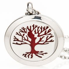 Essential Oil Diffuser Necklace Locket for Aromatherapy, Stainless Steel (Hypo-Allergenic)   10 Mesh Pads | Tree of Life -- Check this awesome image  : aromatherapy diffuser
