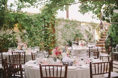 san juan capistrano wedding, wedding reception, romantic wedding inspiration, brown chivari chairs, pastels, succulents, dahlias, roses, garden ceremony