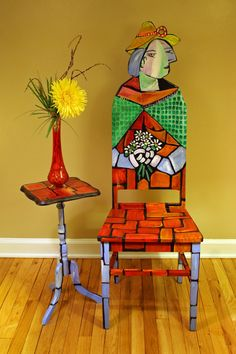Picasso Woman with Shawl Upcycled Chair Painted by Artist Todd Fendos This painted chair pays tribute to Picasso's Woman with Shawl cubist painting. This cubist piece of artwork uses bright red, orange, light blue and Hand Painted Chairs, Whimsical Painted Furniture, Hand Painted Furniture, Funky Furniture, Classic Furniture, Art Furniture, Unique Furniture, Furniture Cleaning, Furniture Outlet
