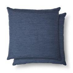 """2pc Blue Throw Pillow (18""""x18"""") - Threshold, Metallic Blue"""