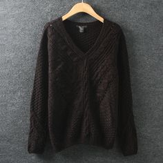 BLACK FIVE — blackfivefashion V-neck Crochet Cable-knit Sweater