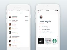 Design Team App Contact and Profile