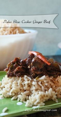 Paleo Slow Cooker Ginger Beef From The Skinny Pear #paleo #crockpot