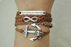 Anchor & Infinity Wish charm bracelet Brown wax by BraceletStreet, $4.99