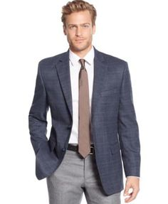 Tasso Elba Classic-Fit Blue Multi Sport Coat, Only at Macy's
