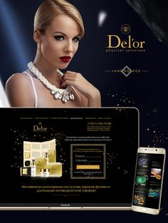 Del'or cosmetics [ Landing Page ] Landing, Physics, Behance, Cosmetics, Website, Design, Physique