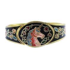 Black Enamel Cloisonne Unicorn Bangle Bracelet