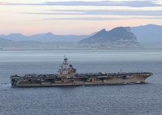 The aircraft carrier USS George H. W. Bush (CVN 77) transits the Strait of Gibraltar.