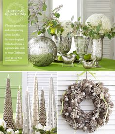 Wisteria green and glistening decorations for Christmas