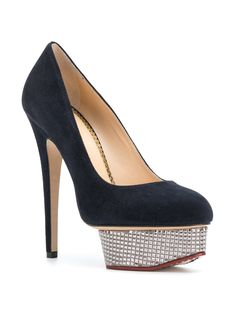 Charlotte Olympia Dolly pumps Fashion Heels, Charlotte Olympia, Soft Suede, Black Pumps, Stiletto Heels, Peep Toe, Footwear, Glamour, Pairs