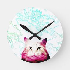 Cute Galaxy Cat Clock, - Great gift idea for a cat lover! More Galaxy Cats merchandise and cute cat clocks available in store! Cat Lover Gifts, Cat Gifts, Cat Lovers, Siberian Forest Cat, Cute Clock, Cat Merchandise, Galaxy Cat, Cat Wall, Original Gifts
