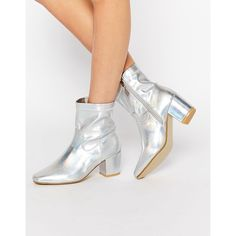Daisy Street Iridescent Sock Ankle Boots ($60) ❤ liked on Polyvore featuring shoes, boots, ankle booties, silver, zip ankle boots, block heel bootie, chunky-heel ankle boots, zipper ankle boots and bootie boots