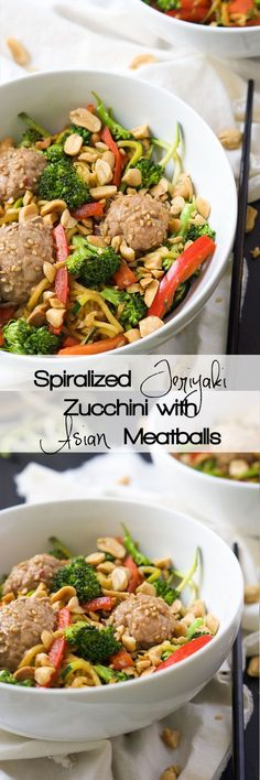 A quick soy and honey based sauce is tossed over Teriyaki Zucchini Noodles for a dinner that is full of sautéed veggies and Asian Meatballs and a look into my dream kitchenusing @frigidaire Professional-Grade Appliances!