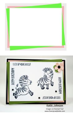 Heres an easy card layout . . . made even more cute with these darling zebras from Stampin'Up's Zany Zebras stamp set #stampinup Blog Images, More Cute, Zebras, Color Splash, Thank You Cards, Stampin Up, Card Making, Dots, Layout