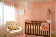 Project Nursery - Pink Herringbone Nursery Accent  Wall. In the nursery with Jennifer Morrison