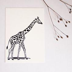 Postkarte Giraffe, Tierillustration, von Katja Rub